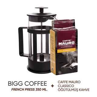 BiggCoffee FY04-350 ml French Press (Caffe Mauro Classico Öğütülmüş Kahve Hediyeli)