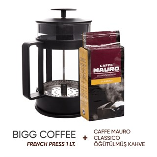 BiggCoffee FY04-800 ml French Press (Caffe Mauro Classico Öğütülmüş Kahve Hediyeli)
